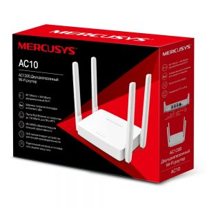 Wi-Fi AC Dual Band MERCUSYS Router, «AC10», 1200Mbps, MU-MIMO, 4x5dBi Antennas, 2xLAN Port