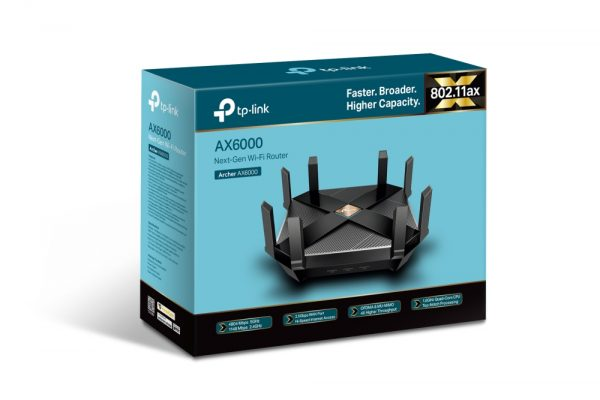 """Wi-Fi AX Dual Band Gaming TP-LINK Router, """"Archer AX6000"""", 6000Mbps, OFDMA, MU-MIMO, Gbit Ports"""